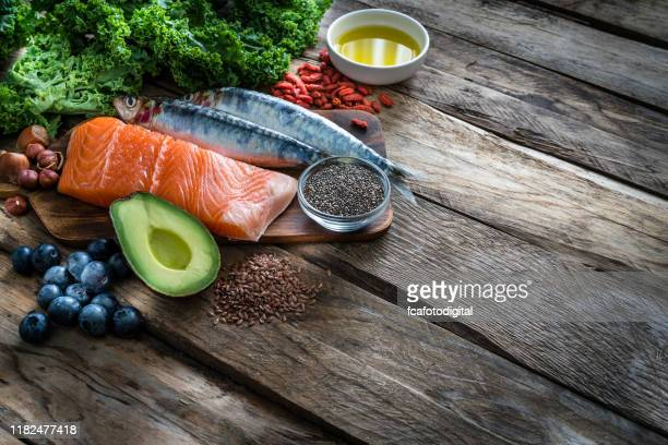 healthy eating: selection of antioxidant group of food rich in omega-3 - flax seed stock pictures, royalty-free photos & images