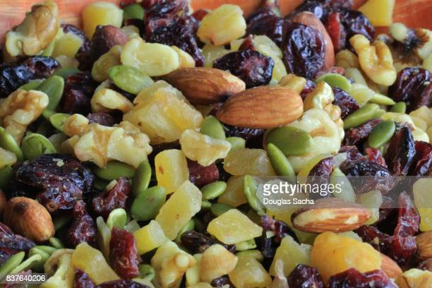 Healthy eating snack of dried fruit and nuts