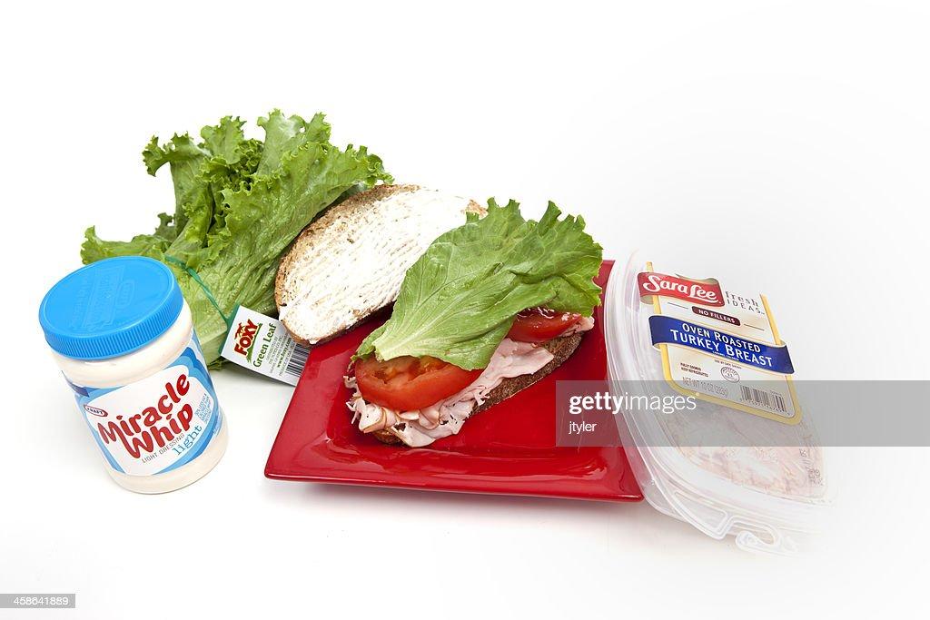 Healthy Eating Turkey Sandwich : Stock Photo