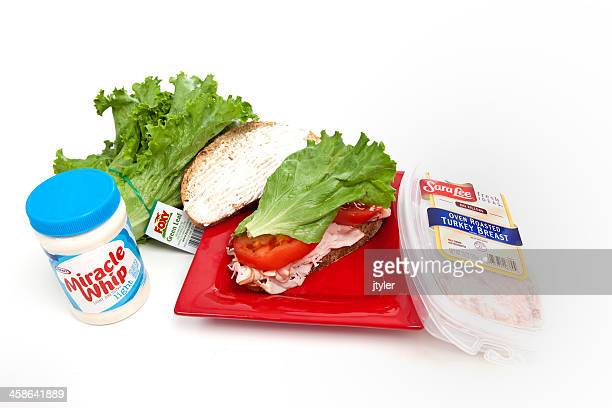 healthy eating turkey sandwich - kraft foods stock photos and pictures