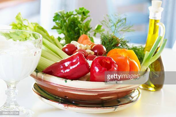 healthy eating: vegetables, olive oil, yoghurt and quark - olive pimento stock photos and pictures