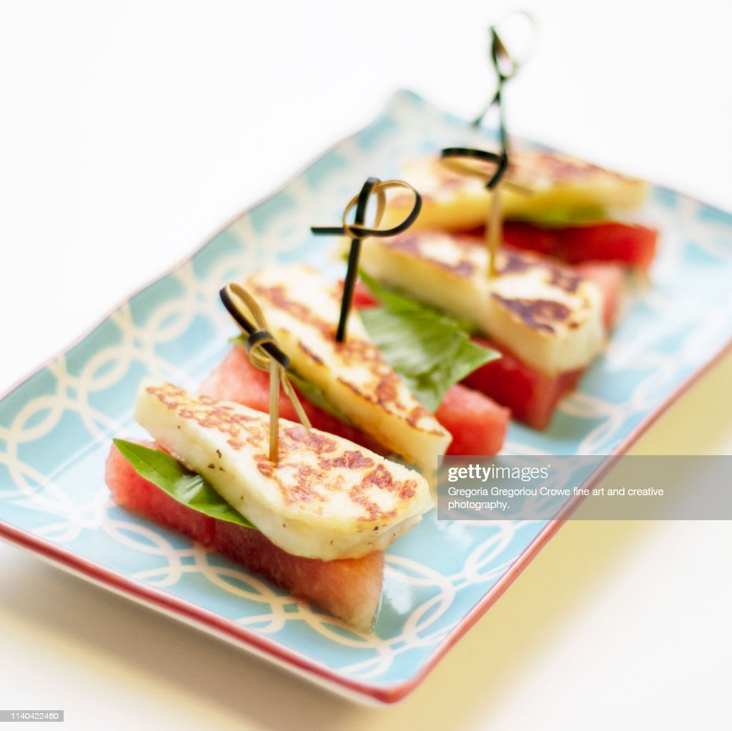 Healthy Eating - Watermelon With Halloumi Cheese : Stock Photo