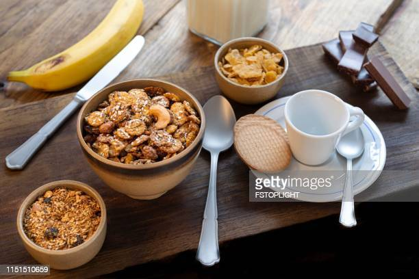 Healthy eating with granola for breakfast