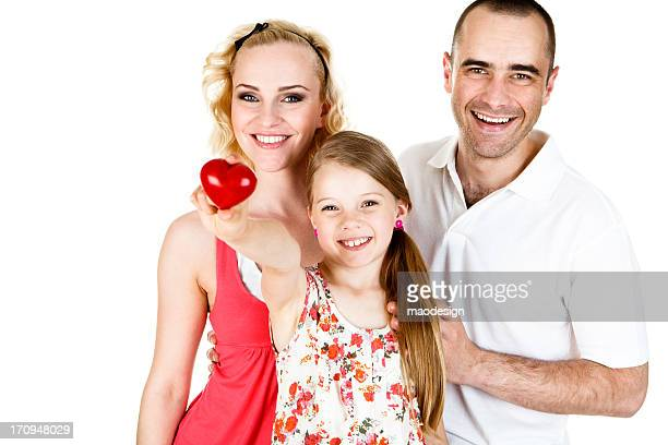 Healthy Family of Three Close Up Portrait