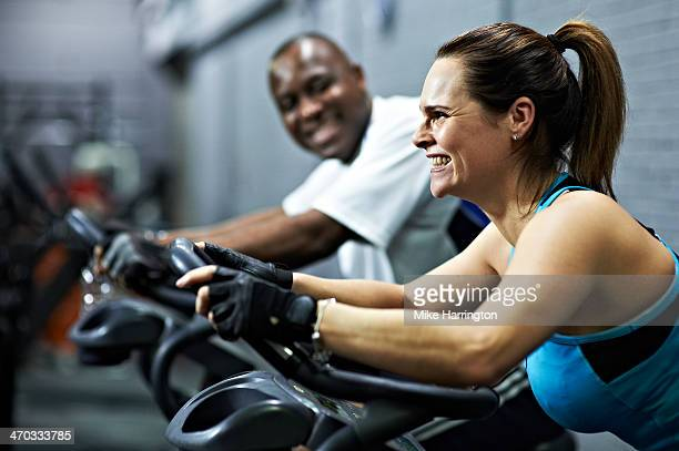 Healthy Female Working Out on Exercise Bike