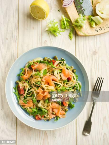 Healthy fennel salad with smoke salmon