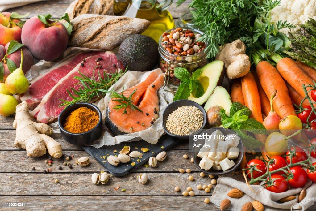 Healthy food for balanced flexitarian mediterranean diet concept : Stock Photo
