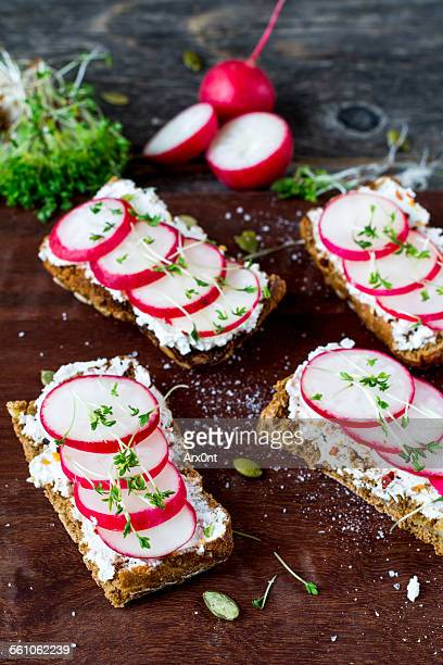 Healthy food, fresh toasts with radishes