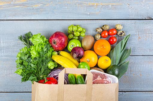 healthy, food, grocery, background, basket, bag, vegetables, fish, balanced, purchase, 936387810