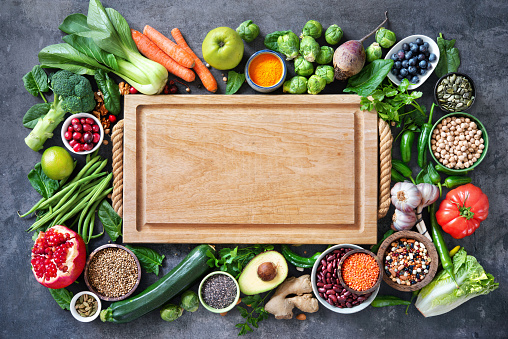 Healthy food selection with fruits, vegetables, seeds, super foods, cereals 1128687113
