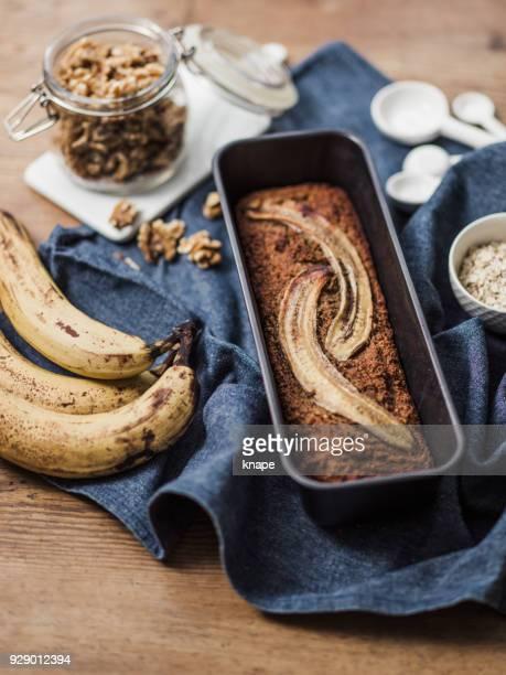 Healthy Food vegan banana bread and ingredients