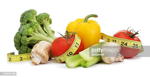 Healthy Food Wrapped in a Tape Measure