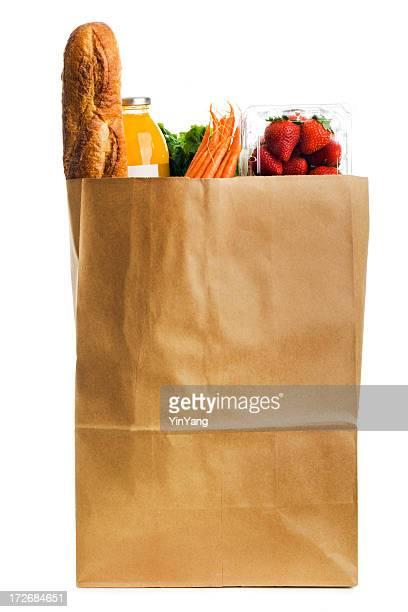 ヘルシーで出来立てのお料理にペーパーバッグの食料品の白背景