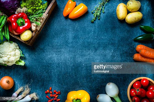 healthy fresh vegetables frame. copy space - ingredient stock pictures, royalty-free photos & images