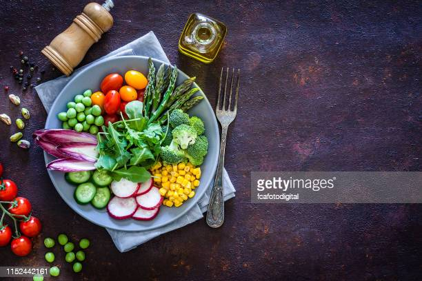 healthy fresh vegetables salad shot from above with copy space - healthy eating stock pictures, royalty-free photos & images