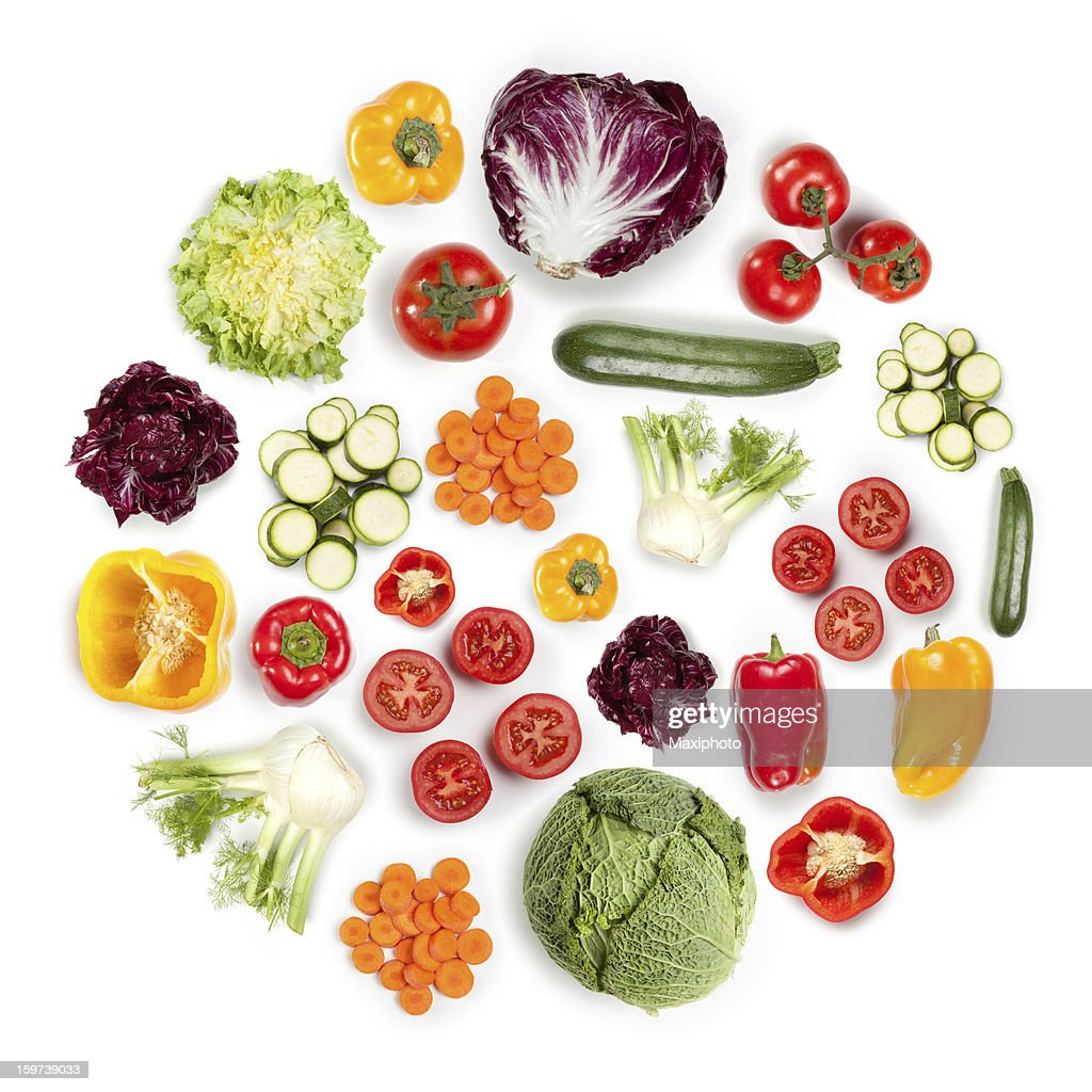 Healthy Fruits and Vegetables in round shape on white background : Stock Photo