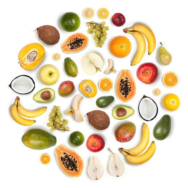 Healthy Fruits Arranged In A Round Composition On White Background Wall Art