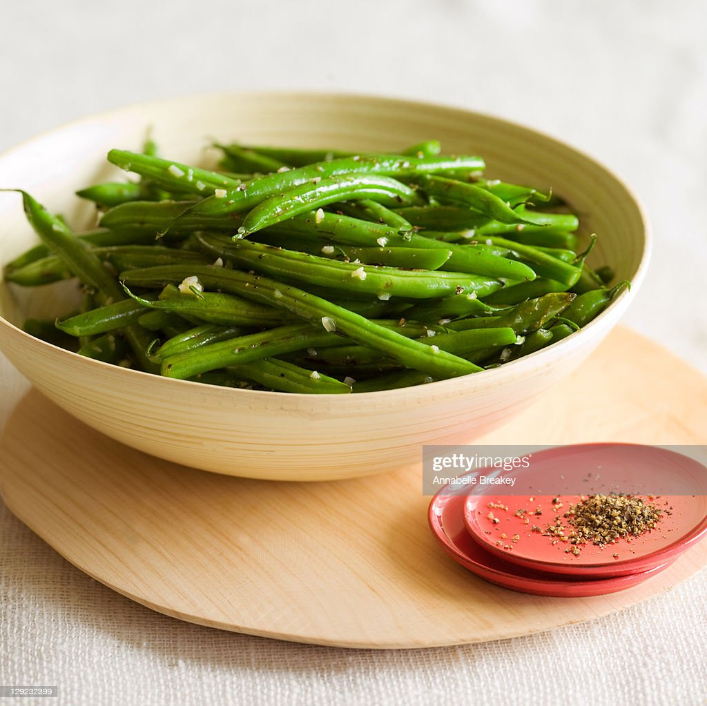 Healthy Garlic and Thyme Green Beans : Stock Photo