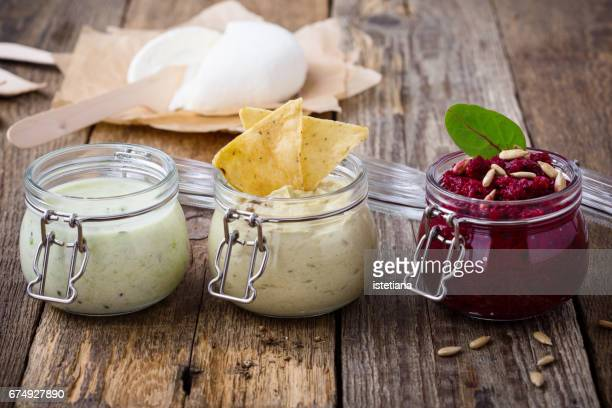healthy green yoghurt  smoothie and beetroot  dip - salad dressing stock pictures, royalty-free photos & images