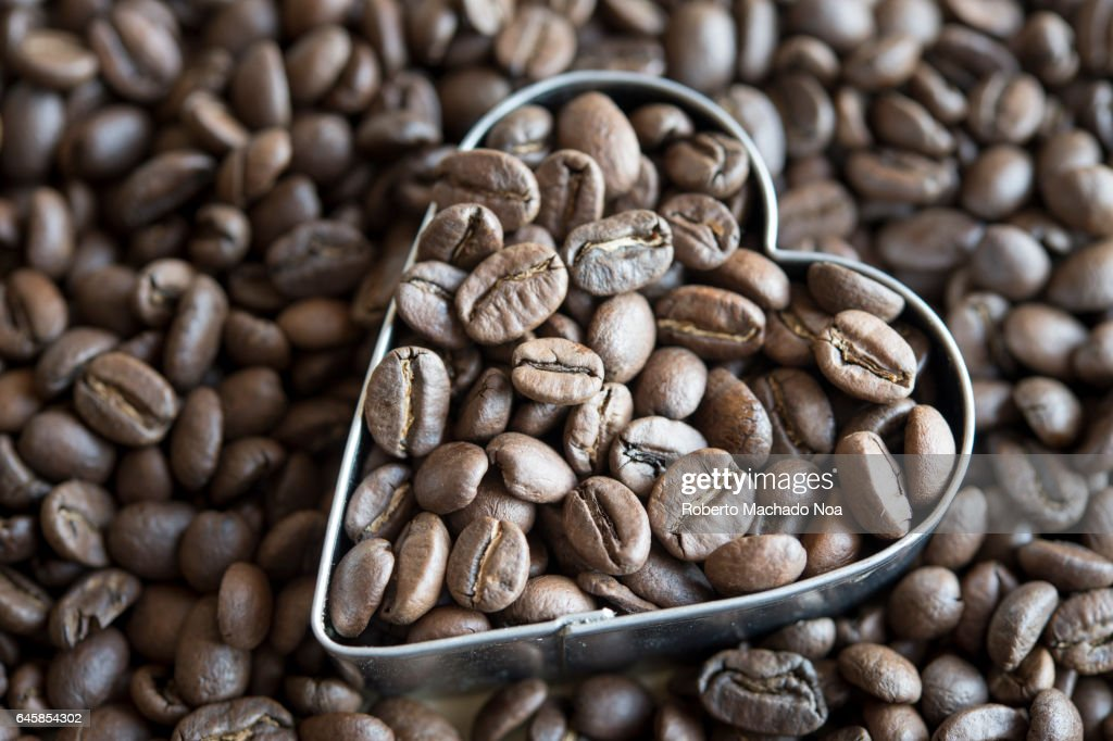 Healthy Hearty Foods: Roasted Coffee Beans and a Heart Shape : Stock Photo