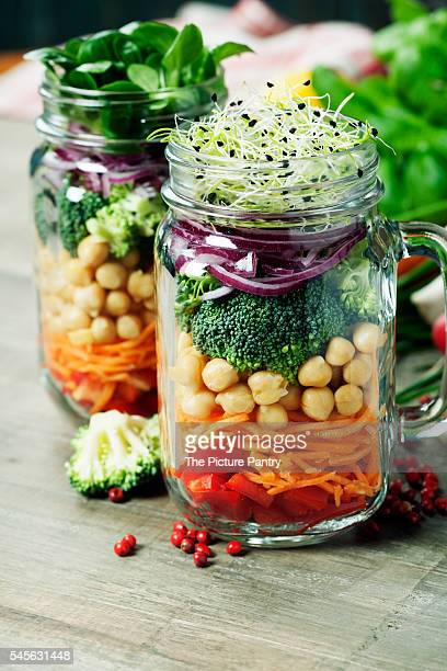 Healthy Homemade Mason Jar Salad with Beans and Vegetables