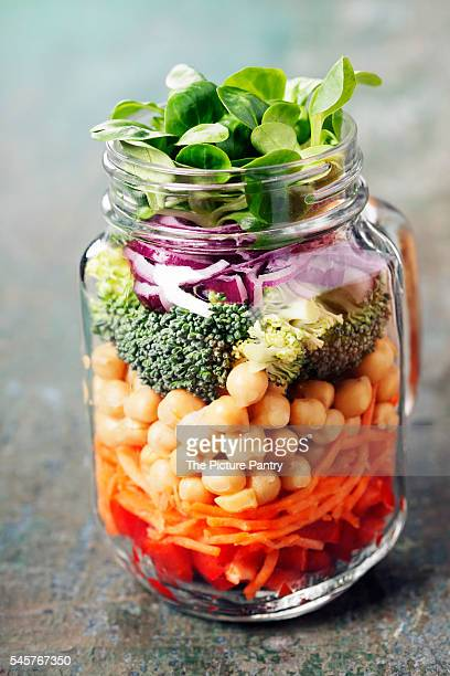 Healthy Homemade Mason Jar Salad with Chickpeas and Vegetables