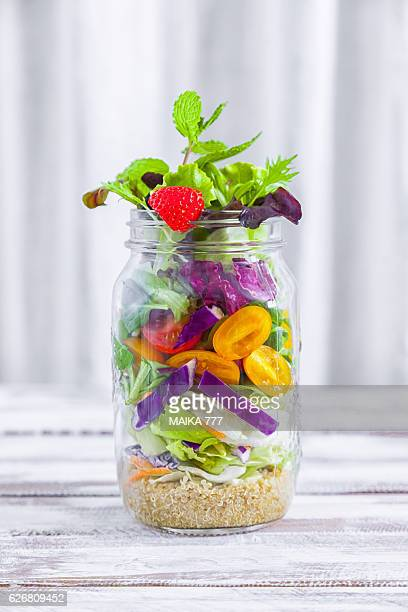 healthy homemade mason jar salad with quinoa and veggies - jars with salad stock pictures, royalty-free photos & images