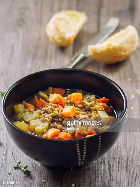 healthy lentil soup - lentil stock pictures, royalty-free photos & images