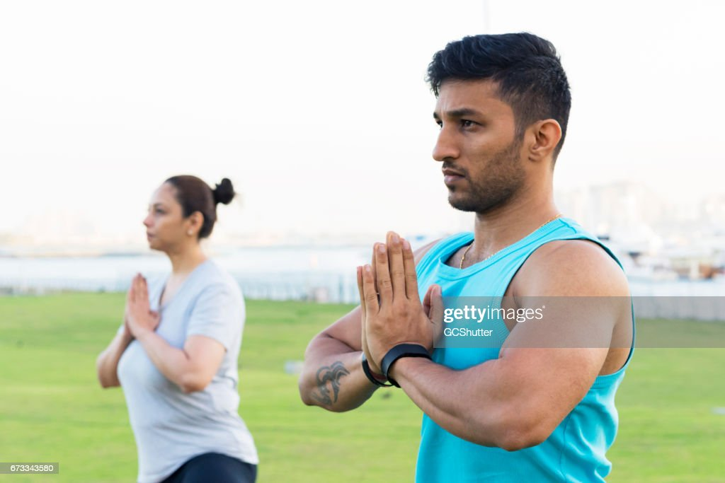 Healthy lifestyle begins with positive attitude and yoga leads us there! : Stock Photo