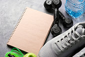 healthy lifestyle concept health diary with