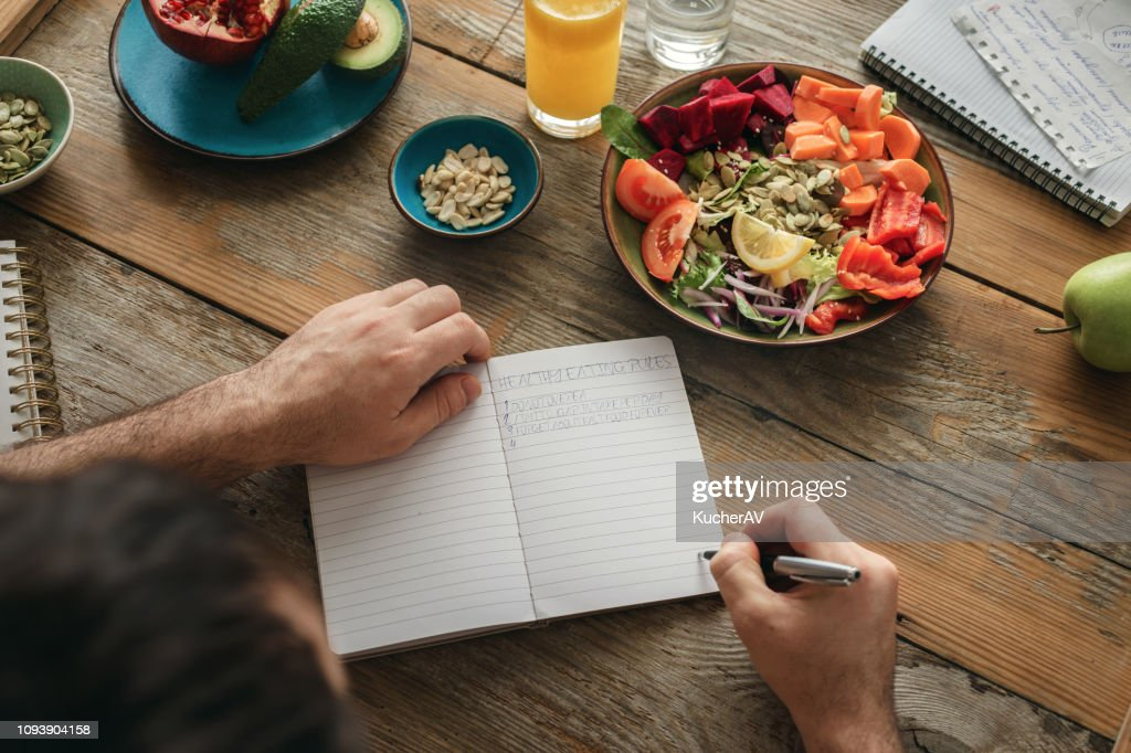 Healthy lifestyle diet food Man healthy food : Stock Photo