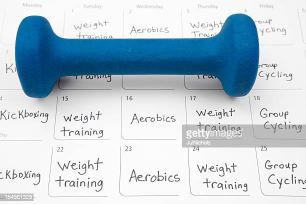 healthy lifestyle: exercise schedule - week stock pictures, royalty-free photos & images