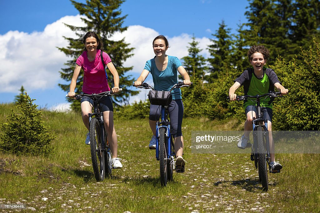 Healthy lifestyle - family biking : Stock Photo