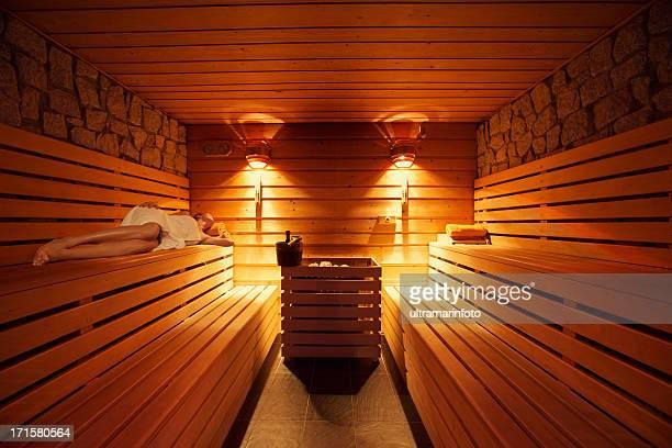 Healthy Lifestyle - Girl lying in sauna
