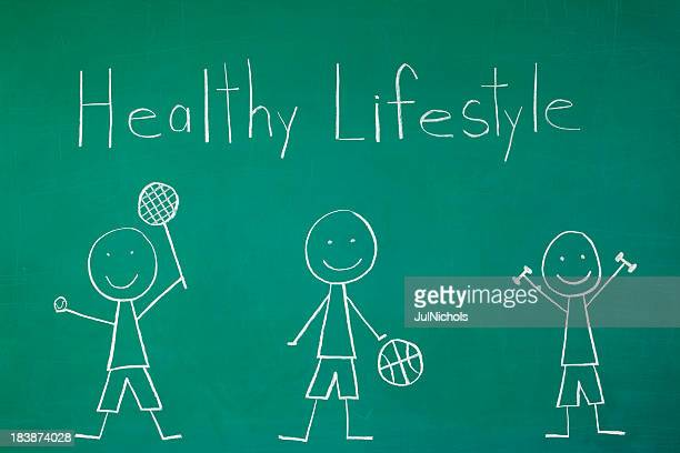 Healthy Lifestyle: Stick Figures Exercising