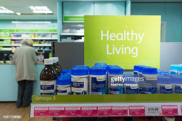 Healthy living tablets and vitamin supplements seen in a chemist store on October 8 2015 in Cardiff United Kingdom