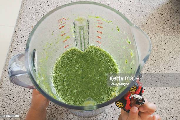 Healthy living - top view of green smoothie