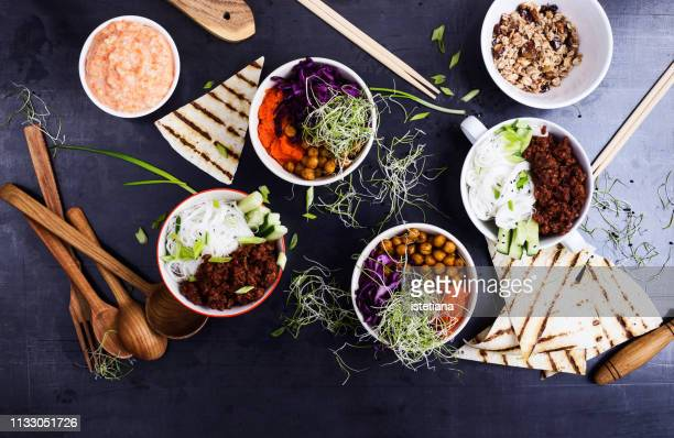Healthy lunch or brunch meal viewed from above