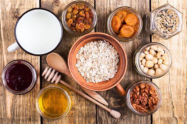 Healthy morning muesli ingredients