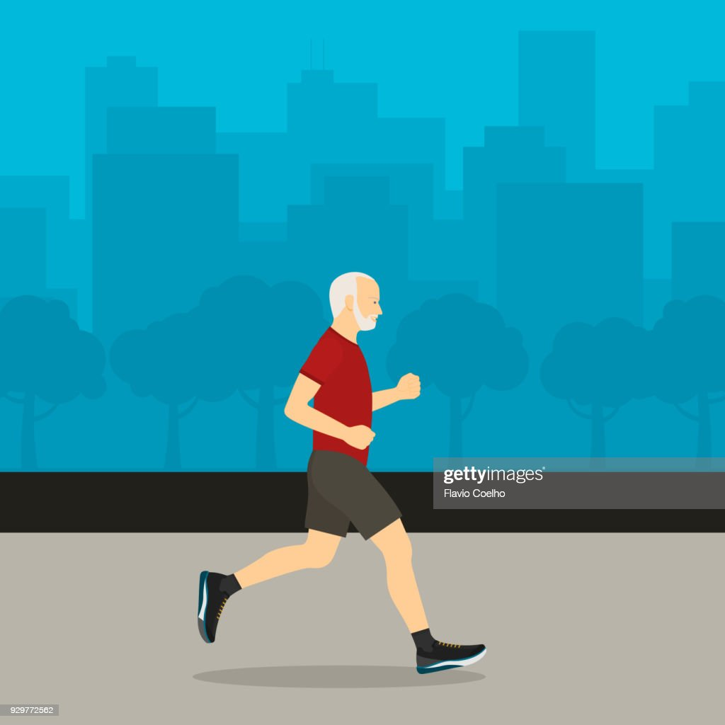 Healthy old man jogging and city on the background illustration : Stock Photo