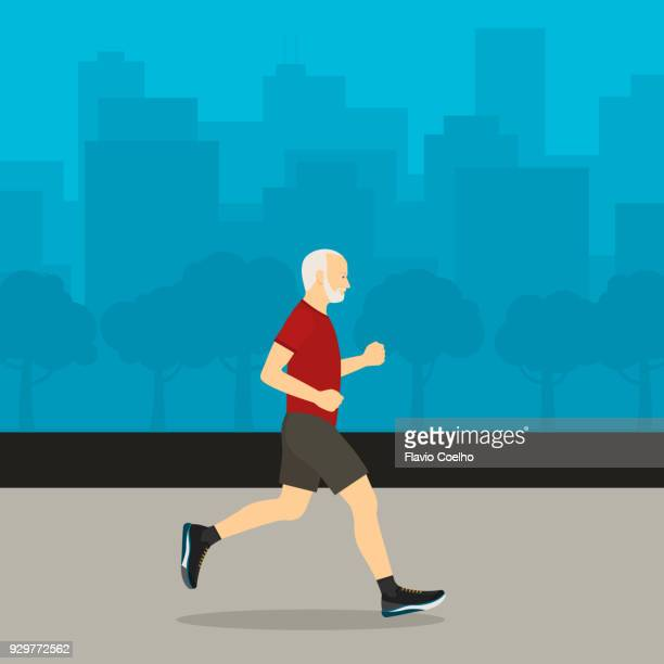Healthy old man jogging and city on the background illustration