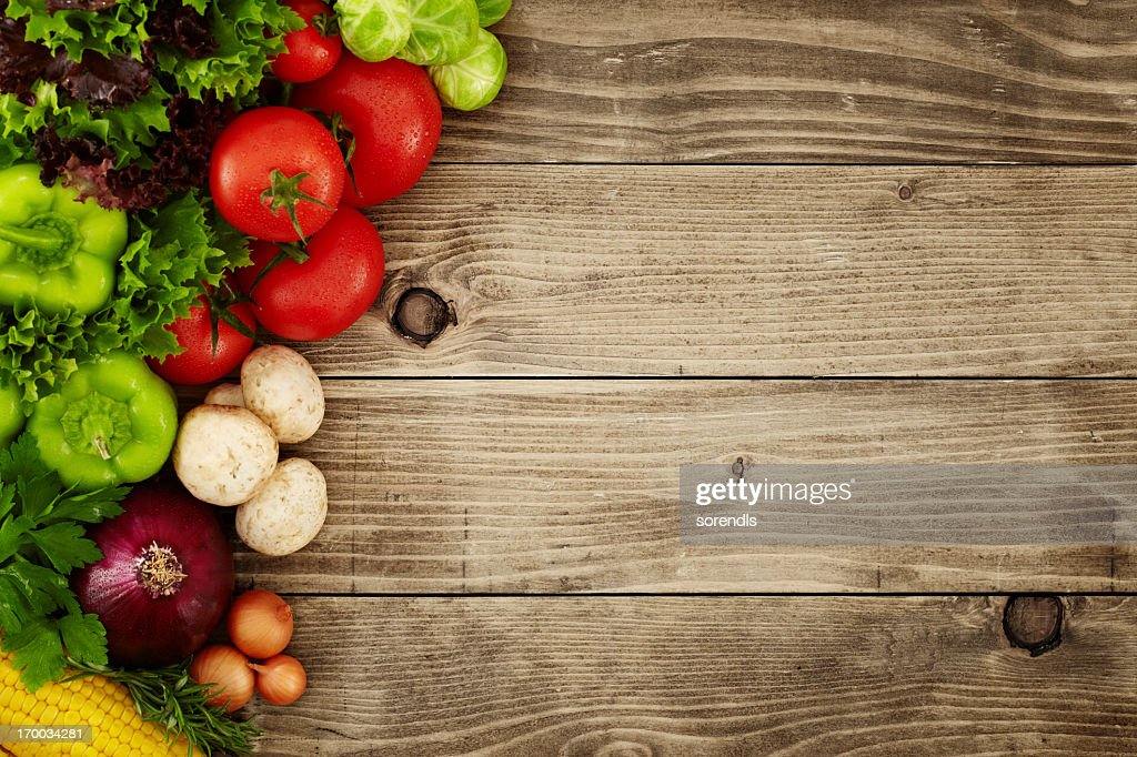 Healthy Organic Vegetables on a Wooden Background : Stock Photo