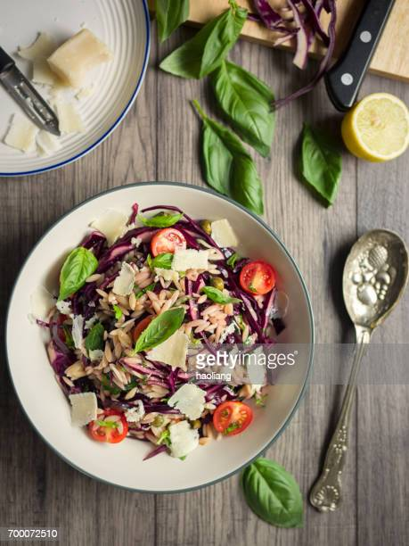 Healthy orzo and red cabbage salad
