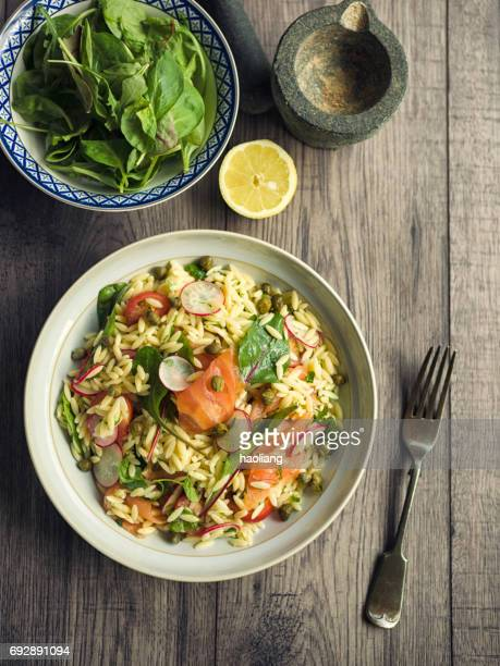 Healthy orzo salad with smoke salmon