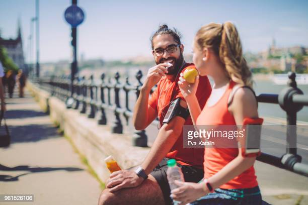 healthy outdoors exercising - snack stock pictures, royalty-free photos & images