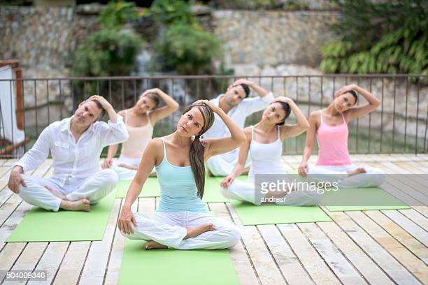 Healthy people in a yoga class