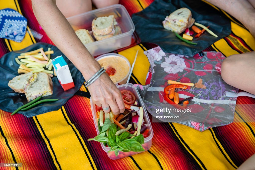 Healthy picnic with raw vegetables and eco-friendly reusable food wrap. : Stock Photo
