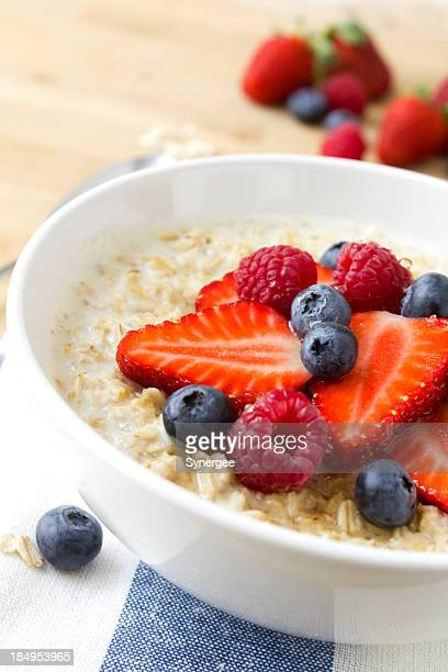 A healthy porridge with fresh berries
