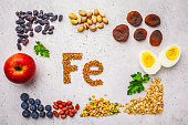 Healthy product sources of iron. Top view, food background, Fe ingredients on a white background.