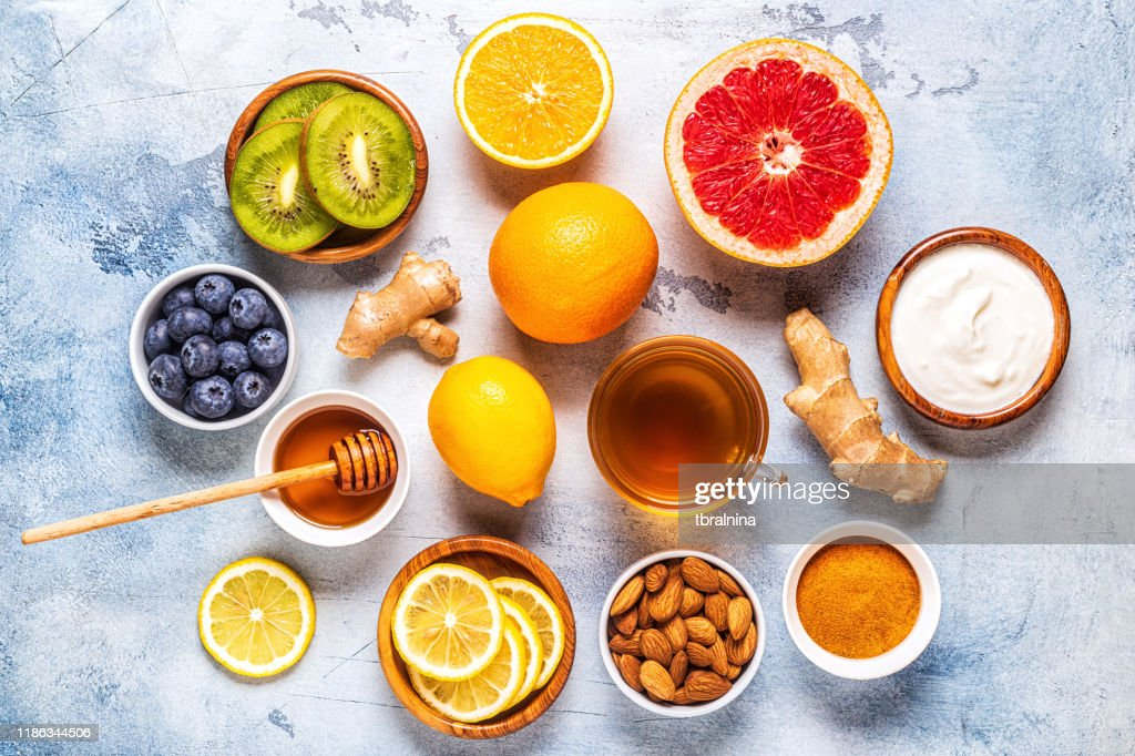 Healthy products for Immunity boosting and cold remedies : Stock Photo